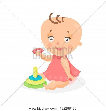 Adorable cartoon baby girl in pink dress playing with pyramid colorful character vector Illustration isolated on a white background