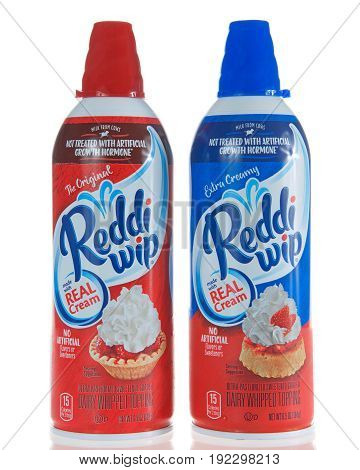 Alameda CA - February 17 2017: 6.5 ounce cans of Reddi wip brand dairy whipped topping. Original and Extra Creamy. Nitrous oxide fuels the expulsion of whipped cream from spray cans.
