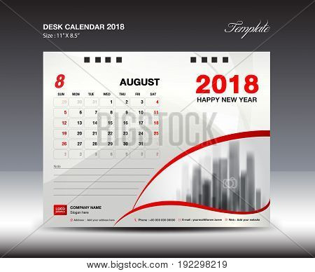 Desk Calendar for 2018 Year August 2018 Week starts Monday Stationery design