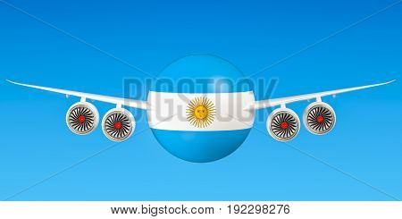 Argentine airlines and flying's flights to Argentina concept. 3D rendering