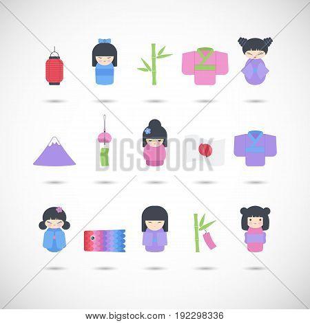 Japan vector flat icon set Flat design of kawaii Japanese symbols Vector illustration