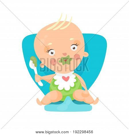 Adorable cartoon baby sitting on blue chair and eating, colorful character vector Illustration isolated on a white background