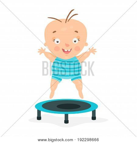 Happy cartoon baby boy jumping on a trampoline. colorful character vector Illustration isolated on a white background