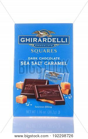 Alameda CA - February 22 2017: 0.7 oz package of Ghiradelli brand Dark Chocolate Sea Salt Caramel. The Ghirardelli Chocolate Company was incorporated in 1852.