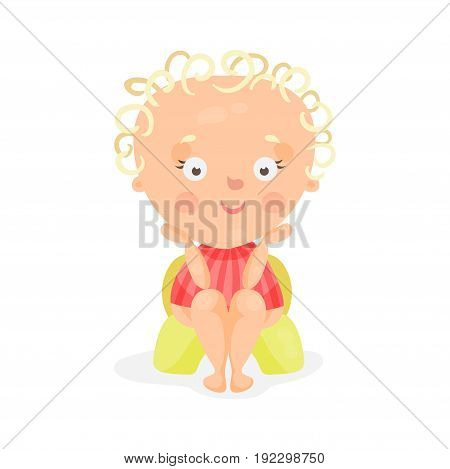 Adorable cartoon baby girl sitting on a yellow potty, colorful character vector Illustration isolated on a white background