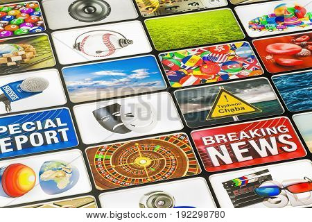 Media technologies concept 3D rendering, television broadcasting