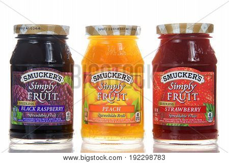 Alameda CA - February 22 2017: Three jars of Smucker's brand Simply Fruit spread. The J. M. Smucker Company is an American manufacturer of fruit spreads founded in 1897.