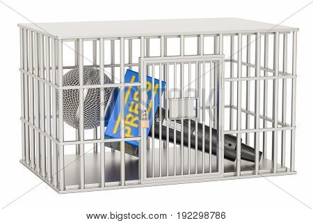Microphone press inside cage prison cell. Freedom of the press prohibition concept. 3D rendering