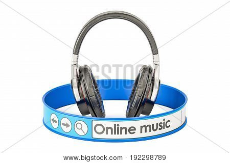 Online Music concept 3D rendering on white