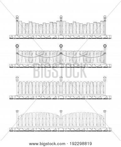 fence design elements illustration Fence color image Fence concept for design palisade illustration Fence Set art picture