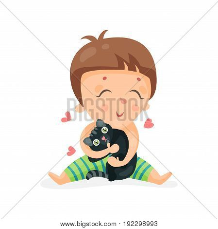 Adorable cartoon toddler baby hugging a black kitten colorful character vector Illustration isolated on a white background