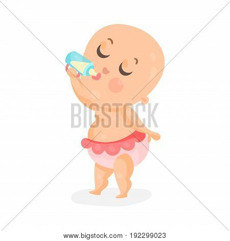 Adorable cartoon baby girl drinking milk in a plastic bottle, colorful cartoon character vector Illustration isolated on a white background
