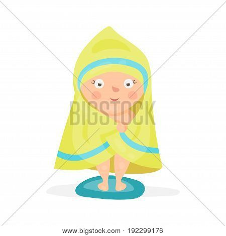 Sweet cartoon baby wrapped in a yellow towel after taking a bath colorful character vector Illustration isolated on a white background