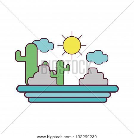 cactus with sun natural aventure vector illustration