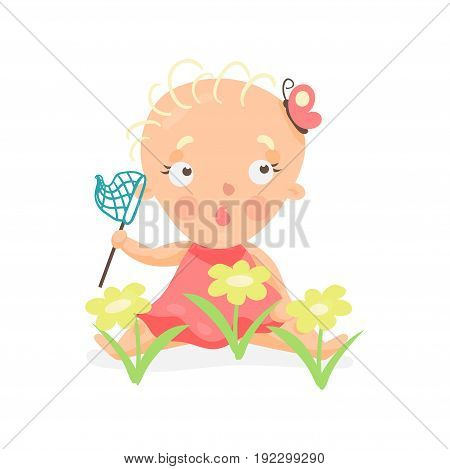 Sweet cartoon baby girl sitting on the meadow with yellow flowers with butterfly net colorful character vector Illustration isolated on a white background