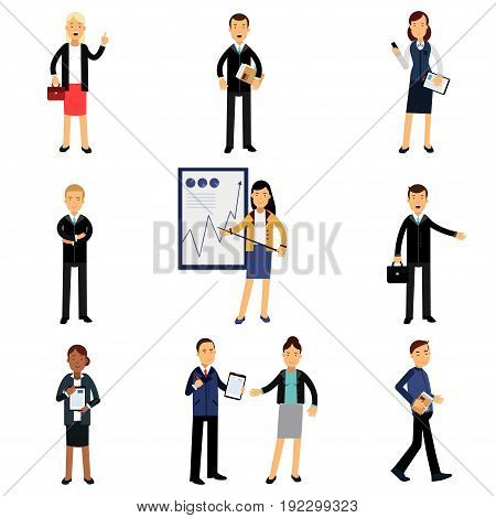 Businessmen in suits set, office employees characters vector Illustrations isolated on a white background