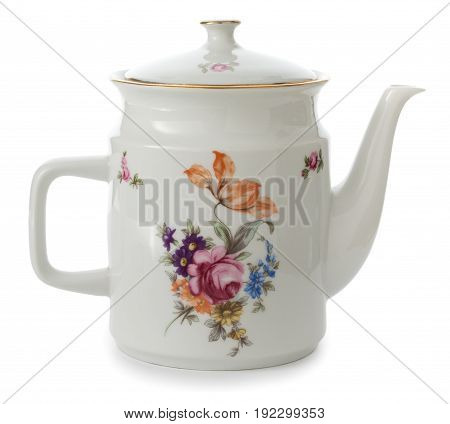 Vintage Old Style Rich Decorated By Flower Decors White Tea Pot Isolated On A White Background.