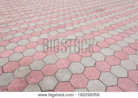 footpath hexagon concrete block,Grunge Brick Stone on The Ground for Street Road.