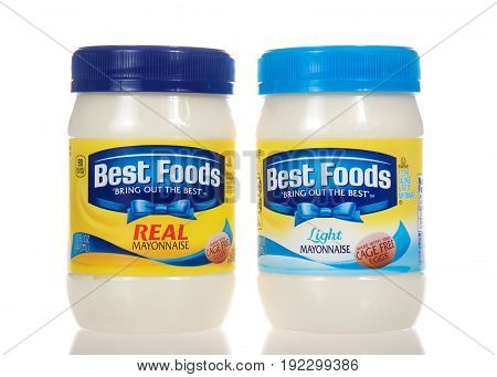 Alameda CA - February 22 2017: Jars of Best Foods brand Mayonnaise. Regular and low fat recipes. Best Foods is America's #1 Mayonnaise is made with real simple ingredients: eggs oil and vinegar.