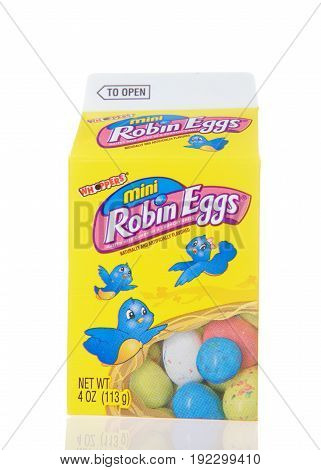 Alameda CA - March 06 2017: Mini Robin Eggs candy by Whoppers in a milk carton type box. Malted milk candy in a speckled candy-coated shell; Shaped like Easter eggs