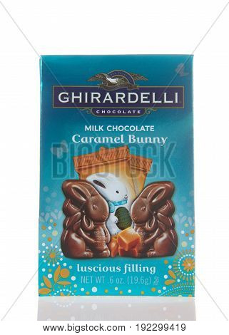 Alameda CA - March 06 2017: Ghirardelli brand Easter special Milk Chocolate Caramel Bunnies with luscious filling. Ghirardelli is the third-oldest chocolate company in the United States.
