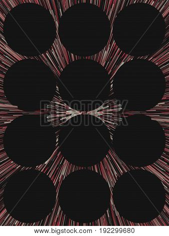 Diagonal digital abstract colored lines with black circles. 3d rendering background