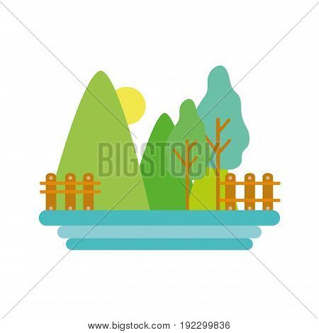 mountains with trees and grid wood with sun vector illustration