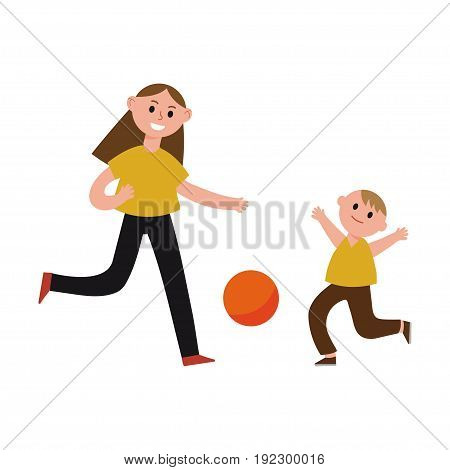 Happy mother playing ball with her son cartoon characters, mom and her child playing sports together vector Illustration isolated on a white background
