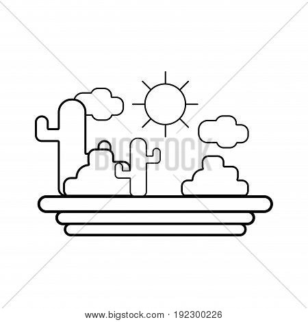 line cactus with sun natural aventure vector illustration