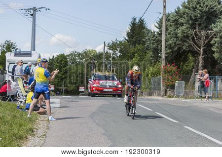 Bourgoin-Jallieu France - 07 June 2017: The Italian cyclist Sonny Colbrelli of Bahrain-Merida Team riding during the time trial stage 4 of Criterium du Dauphine 2017.