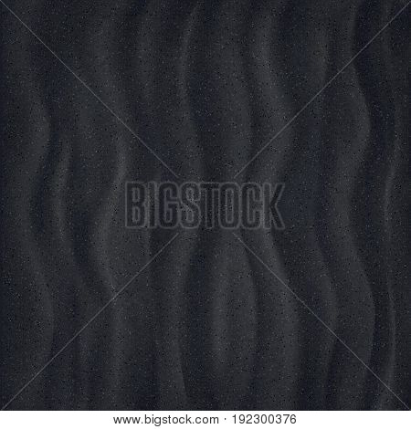 Black Sand beach. Closeup. Texture of sand surface. Overhead view. Vector illustration. Background