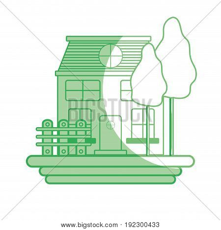 silhouette beutiful house with grid wood vector illustration