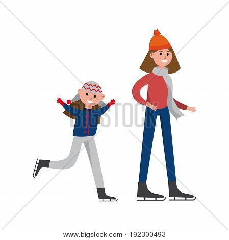 Smiling mother with her daughter enjoying ice skating cartoon characters, happy family playing sports together vector Illustration isolated on a white background