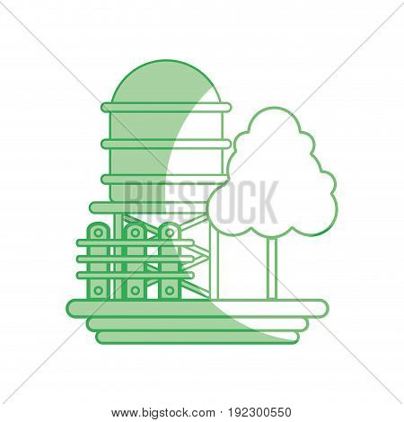 silhouette water tabk towel with tree and grid wood vector illustration