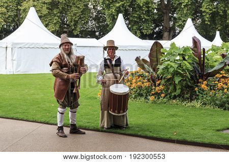 LONDON, GREAT BRITAIN - SEPTEMPER 7, 2014: These are street musicians in medieval costumes at the Thames Festival in Victoria Embankment Gardens.