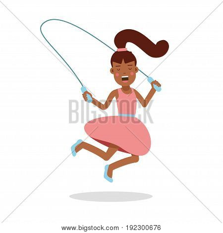 Happy little girl in a pink dress jumping with skipping rope cartoon character, kids physical activities vector Illustration isolated on a white background