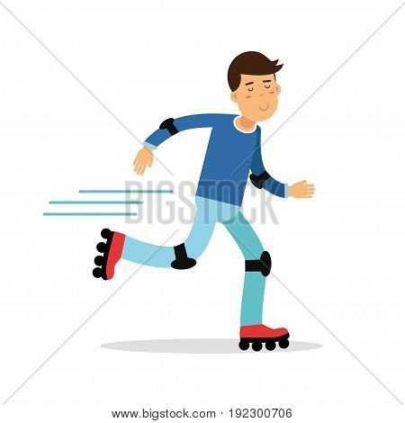 Active boy roller skating cartoon character, kids physical activities vector Illustration isolated on a white background