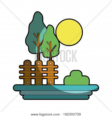 grid wood with trees and sun vector illustration