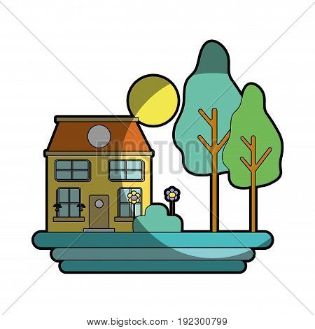 house with trees and plant with flowers and sun vector illustration