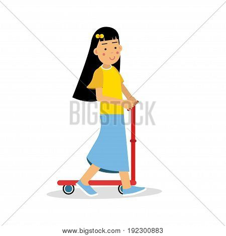 Cute brunette girl riding a kick scooter cartoon character, kids physical activities vector Illustration isolated on a white background