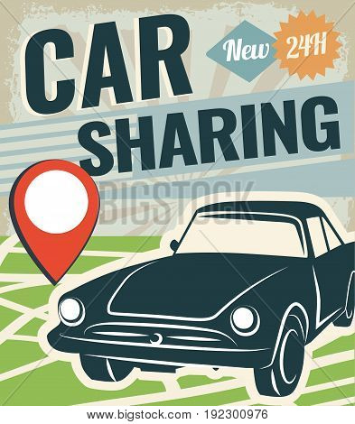 Car sharing graphic design. Car to share vector Illustration. Renting service.
