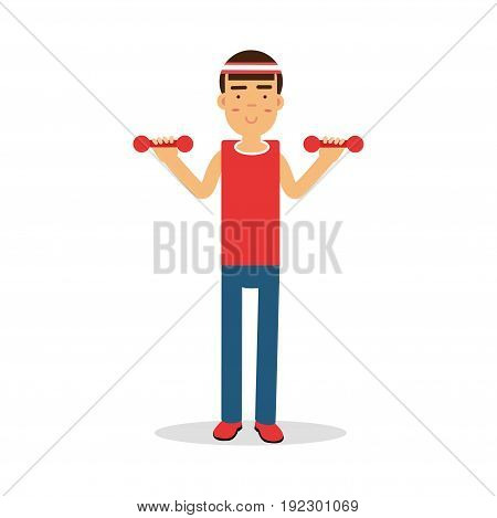 Active young boy exercising with dumbells cartoon character, kids physical activities vector Illustration isolated on a white background