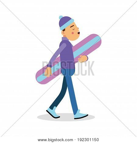 Young boy walking with snowboard cartoon character, winter sports vector Illustration isolated on a white background