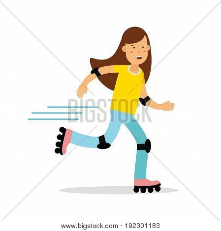 Active girl roller skating cartoon character, kids physical activities vector Illustration isolated on a white background