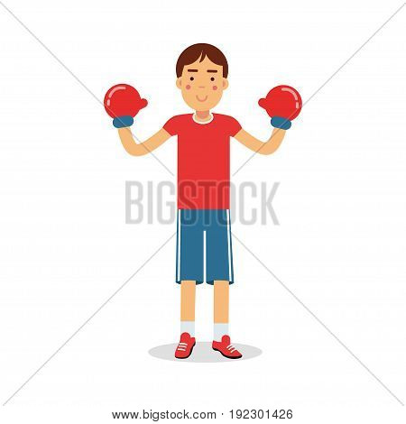 Active boy teen boxer in boxing gloves cartoon character, kids physical activities vector Illustration isolated on a white background