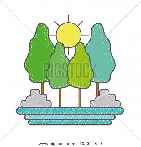 trees plants with natural sun vector illustration