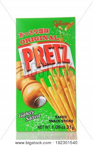 Alameda CA - March 13 2017: Box of Glica brand original Pretz pretzel sticks. Very popular snacks and confections from Japan.