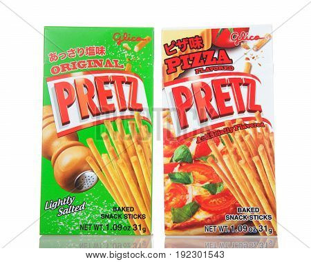 Alameda CA - March 13 2017: Boxes of Glica brand Pretz sticks. Original flavor and Pizza flavor. Very popular snacks and confections from Japan.