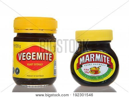 Alameda CA - March 13 2017: Bottles of Vegemite and Marmite brand yeast extract. Vegemite and Marmite are brown pastes made from yeast extract popular in Australia and throughout Britain.