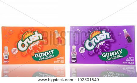 Alameda CA - March 13 2017: 3 oz boxes of Healthy Food Brand Crush soda bottles gummy candy. Orange and grape flavors.